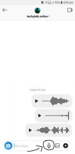 how to send audio message on instagram